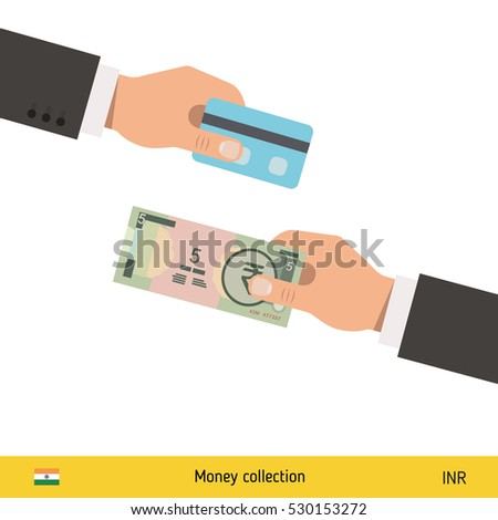 Hand giving indian rupee banknote credit stock vector 2018 hand giving indian rupee banknote and credit card instead business finance concept over white background reheart Images