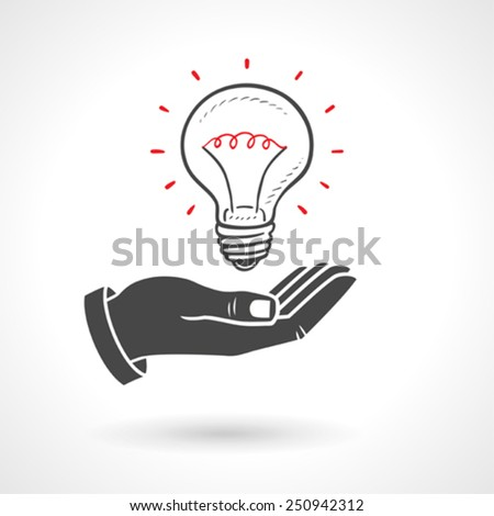 Hand Giving Light Bulb - Idea Concept - stock vector
