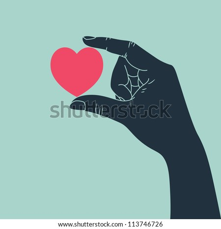 hand giving love symbol - stock vector