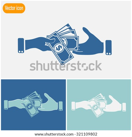Hand giving money dollar to other hand isolated. Vector icon. - stock vector