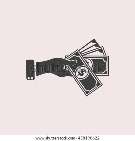 Hand giving money dollar web icon. Isolated illustration - stock vector