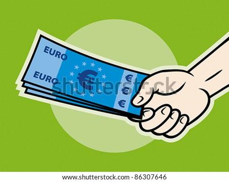 Hand, giving money (euro banknotes), EPS 8, CMYK. - stock vector