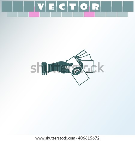 Hand giving money euro to other hand icon. Hand giving money euro to other hand vector. Simple icon isolated on light background. - stock vector