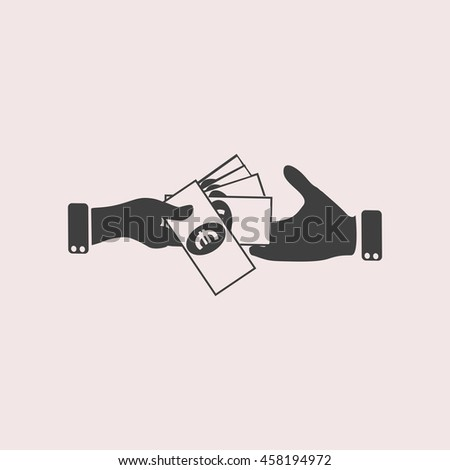 Hand giving money euro to other hand isolated web icon. Isolated illustration - stock vector