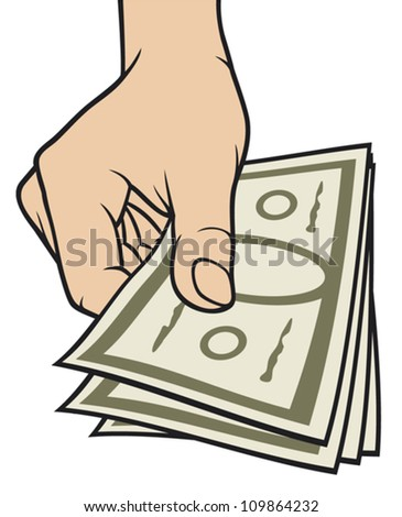 hand giving money (hand with money, hand holding banknotes, money in the hand) - stock vector