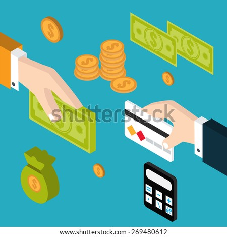 Hand giving money to other hand. Hands of two men one holding a banknote the other a  card. Isometric vector illustranion. - stock vector