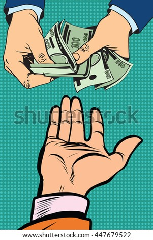 hand giving money to other hand pop art retro vector - stock vector