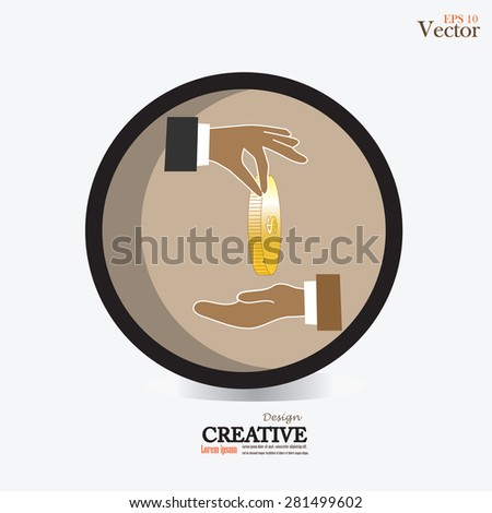 Hand giving money to other hand.vector illustration. - stock vector