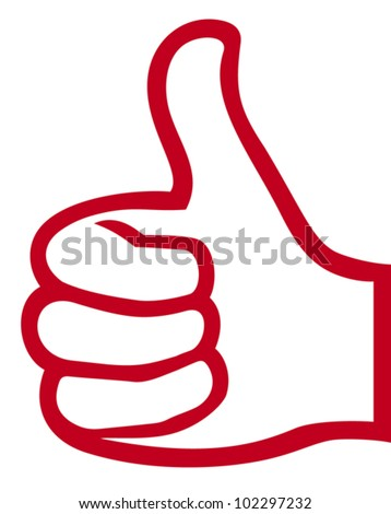 hand giving ok (vector hand showing thumbs up, hand gesture with thumb up) - stock vector