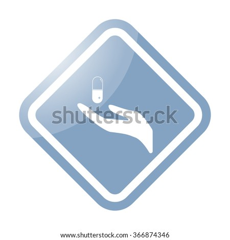 Hand giving pill simple icon on colorful background - stock vector