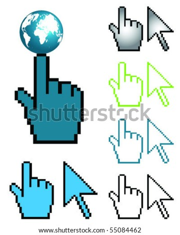 hand globe and arrow cursor-vector