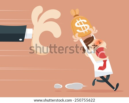 Hand grabbing money bag - stock vector