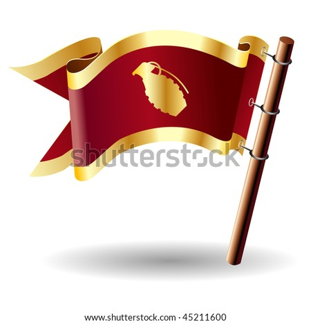 Hand grenade icon on red and gold vector flag good for use on websites, in print, or on promotional materials