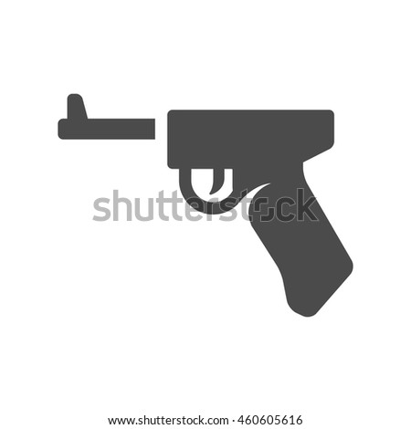Hand gun icons in single color. Vintage fire arm world war - stock vector
