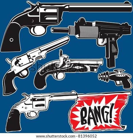 Hand Guns - stock vector