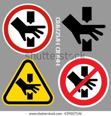 Hand hazards sign. Danger Sign hand hazard turn off power. - stock vector