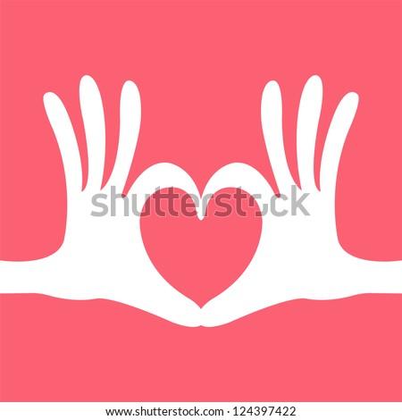 hand heart gesture - stock vector