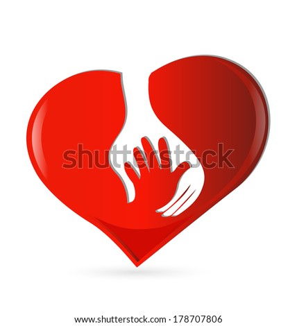 Hand heart symbol of protection icon vector - stock vector