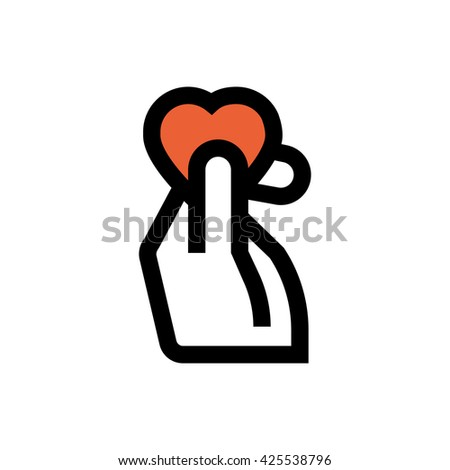Hand, heart, valentine's day, love line icon. Pixel perfect fully editable vector icon suitable for websites, info graphics and print media. - stock vector