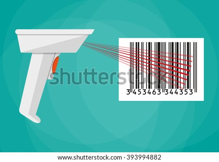 hand held barcode scanner. vector illustration in flat design on green background - stock vector