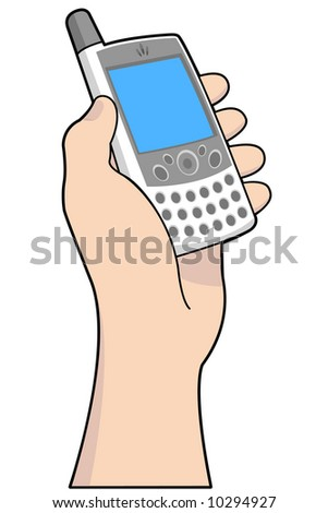 Hand held mobile device with blank screen. Vectored EPS.