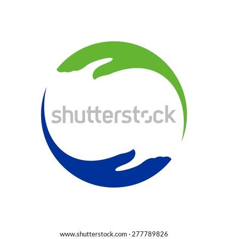 Hand help care logo template - stock vector