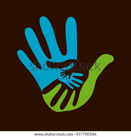 hand helping illustration background - stock vector