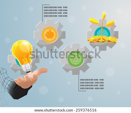 Hand Hold Gear Info graphic vector - stock vector