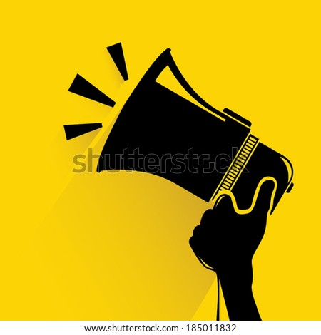 hand hold megaphone on yellow background, communication concept - stock vector