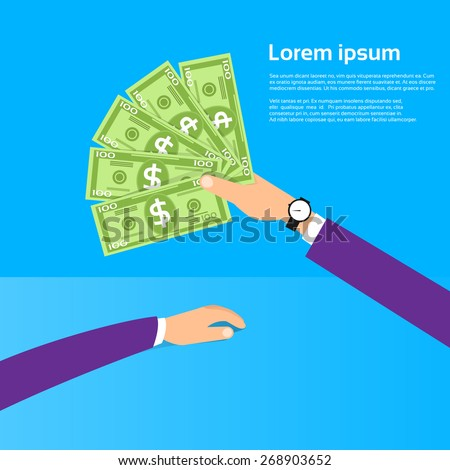 Hand hold One Hundred 100 Dollars Banknote Pack Flat Design with Shadow Vector Illustration - stock vector