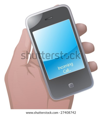Hand hold phone - stock vector