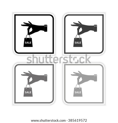 hand hold shopping bag -  grayscale vector icon - stock vector