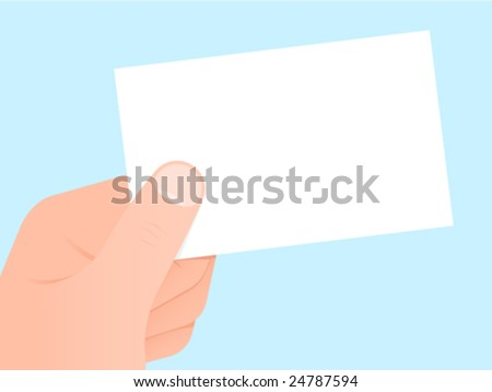 Hand holding a blank white (business) card - vector
