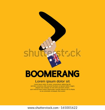 Hand Holding A Boomerang. - stock vector