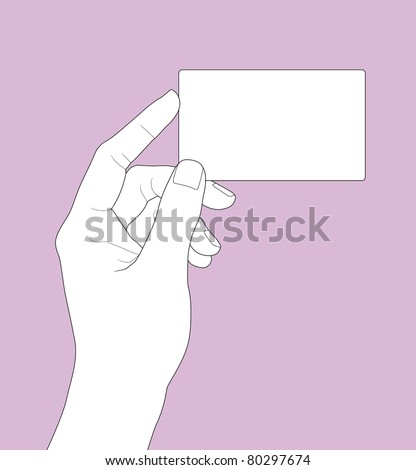 hand holding a business card in outline version - stock vector