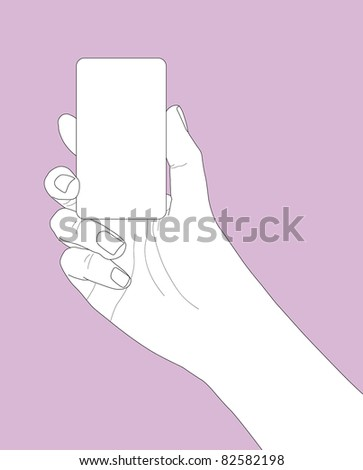 hand holding a business card in outline version