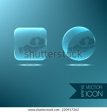 hand holding a cloud download. icon download files