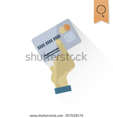 Hand Holding a Credit Card. Business and Finance, Single Flat Icon. Simple and Minimalistic Style. Vector