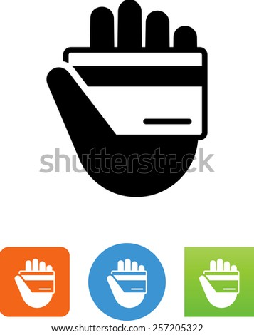 Hand holding a credit card. Symbol for download. Vector icons for video, mobile apps, Web sites and print projects.  - stock vector