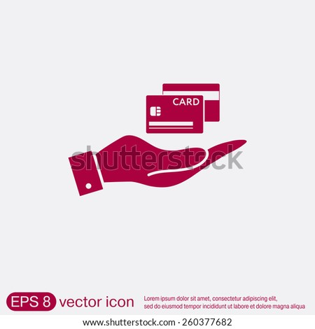 hand holding a credit card. vector icon - stock vector