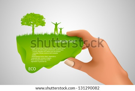 hand holding a green bubble for text - stock vector