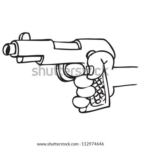 Hand holding a gun - stock vector
