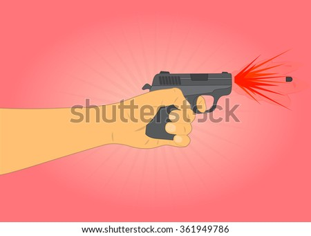 hand holding a gun and fires a bullet with smoke and fire - stock vector