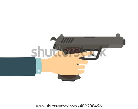 Hand holding a gun isolated on white background. Vector flat pistol illustration. - stock vector