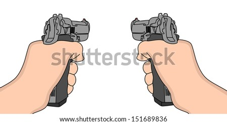 hand holding a handgun vector illustration,  - stock vector