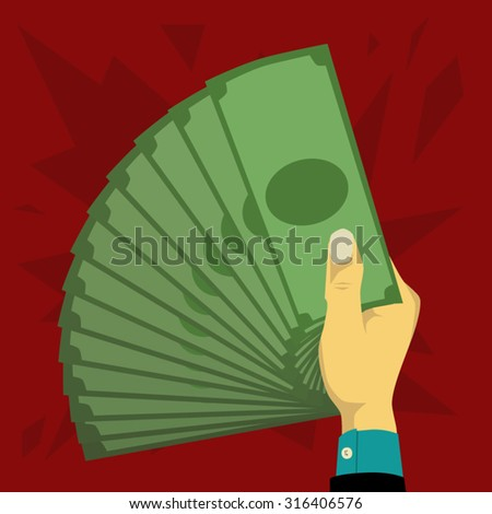Hand holding a lot of money in the form of a fan - stock vector