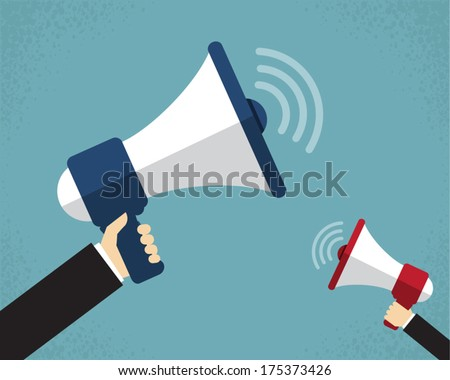 Hand holding a megaphone  - stock vector