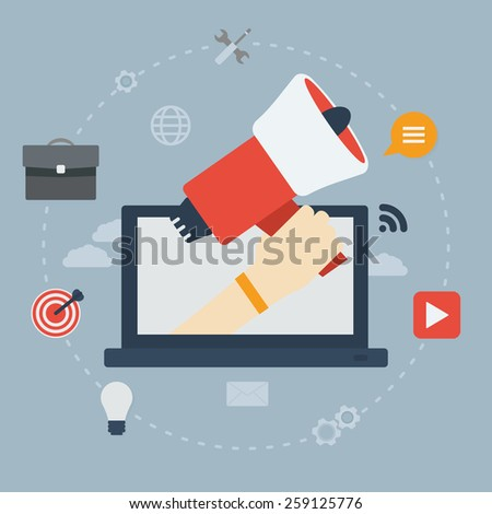 Hand holding a megaphone coming out of a laptop. Flat design digital marketing concept. - stock vector