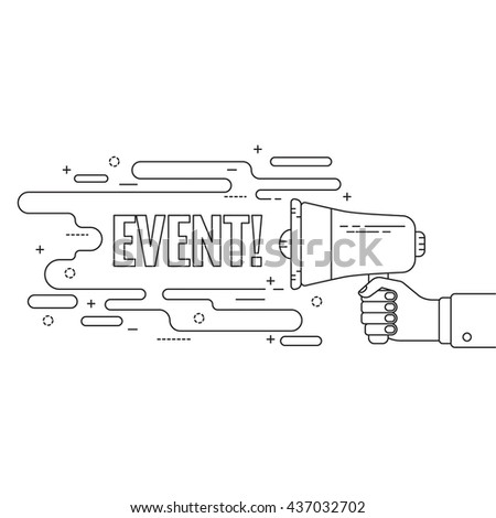 Hand holding a megaphone. Icon  loudspeaker with linear banner, text box. Notification through the speaker, advertisement bullhorn. Vector. Event. - stock vector