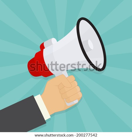 Hand holding a megaphone. Vector illustration - stock vector